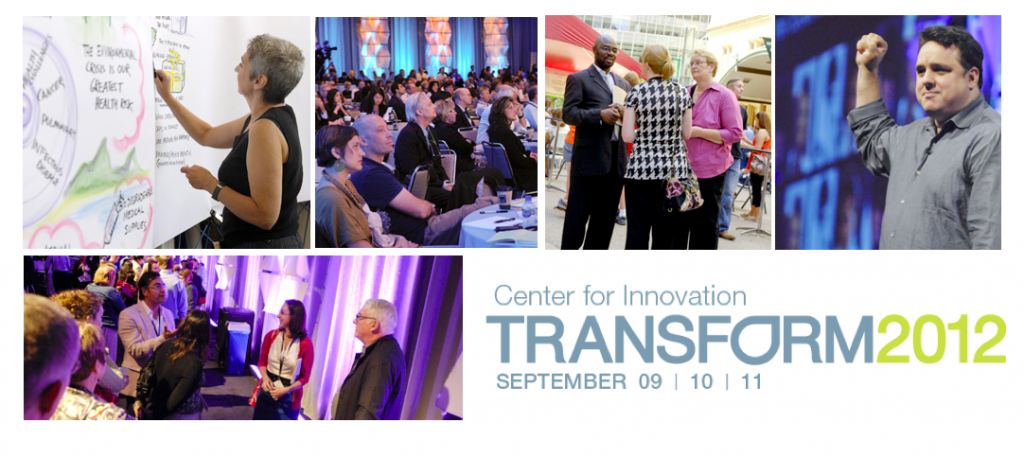 Collage of photos of speakers, breakout sessions, and receptions from the 2012 Transform Symposium