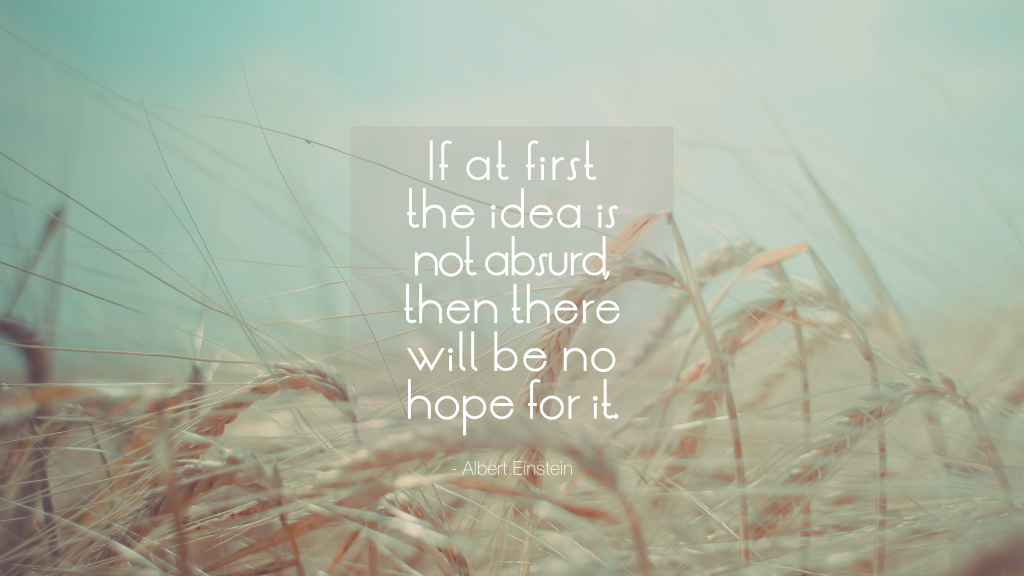 If at first the idea is not absurd, then there will be no hope for it. Albert Einstein