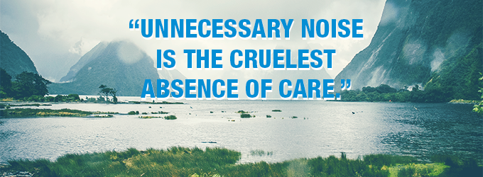 Unnecessary noise is the cruelest absence of care.