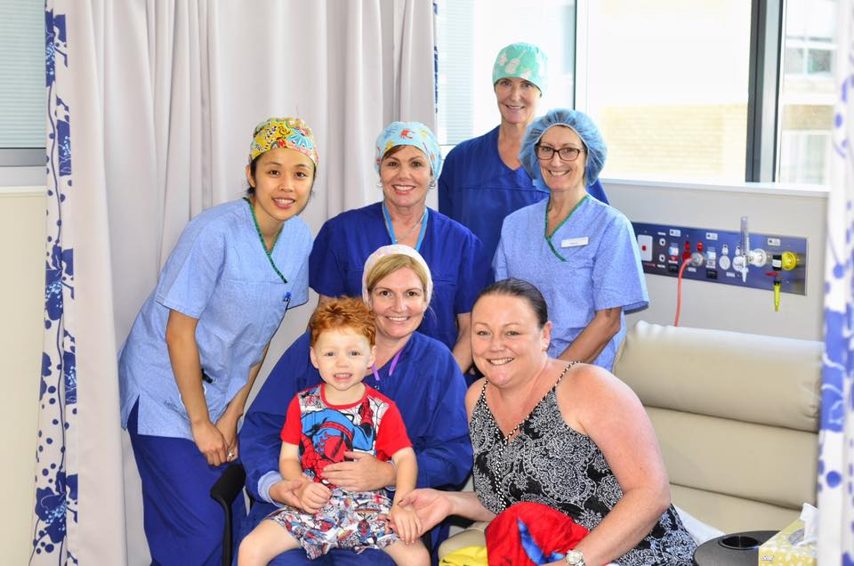 3-year-old Ethan was the first patient admitted for day surgery at the new Chatswood Private Hospital.