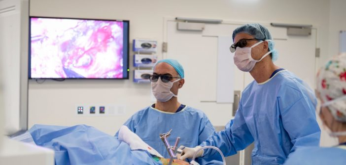 Surgeon Dr Brendan Ryan using the new Olympus system in theatre at Westmead Private Hospital.