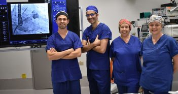 Dr Sean Gomes (Cardiologist), Dr Tom Kolotas (Radiographer), Janelle Montgomery (Nurse) and Gillian Hughes (Nurse) at St George Private Hospital.