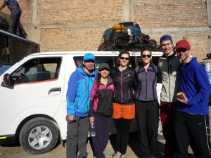 A few MGS students prior to taking a combi (bus taxi) in Cashapampa, Peru.