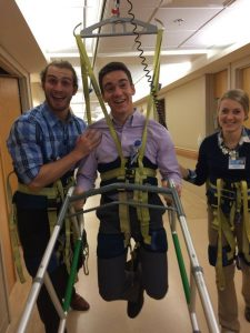 First year student physical therapists, Domenic Fraboni (left), Taylor McWilliams (middle) and Morgan Ollson (right), having fun while learning interventions. Photo credit: Domenic Fraboni