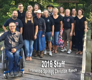 Bob with the staff at Ironwood Springs Christian Ranch