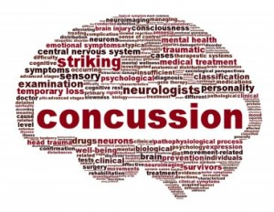 A concussion word cloud in  the shape of a brain including numerous words related to concussion such as striking, neurologist, and sensory