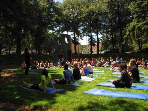 Orientation week included a yoga session in the courtyard