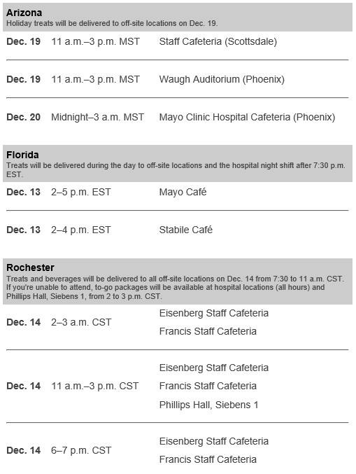 Holiday reception information