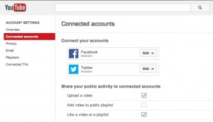 Connect YouTube FB and Twitter