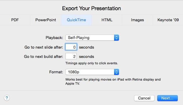 Settings export slideshow to QuickTime