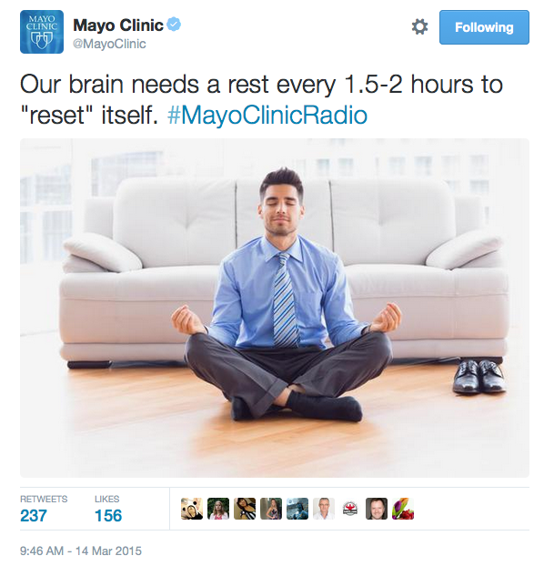 Mayo Clinic Radio show tweet