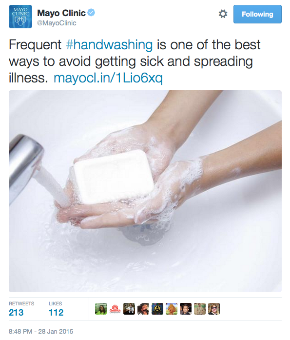 Handwashing awareness tweet