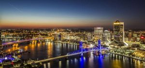 A nighttime view of Downtown Jacksonville.