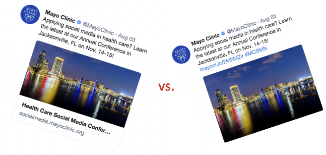 Twitter card vs. regular tweet with link in post