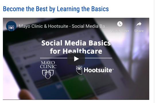 Social Media Basics for Healthcare video