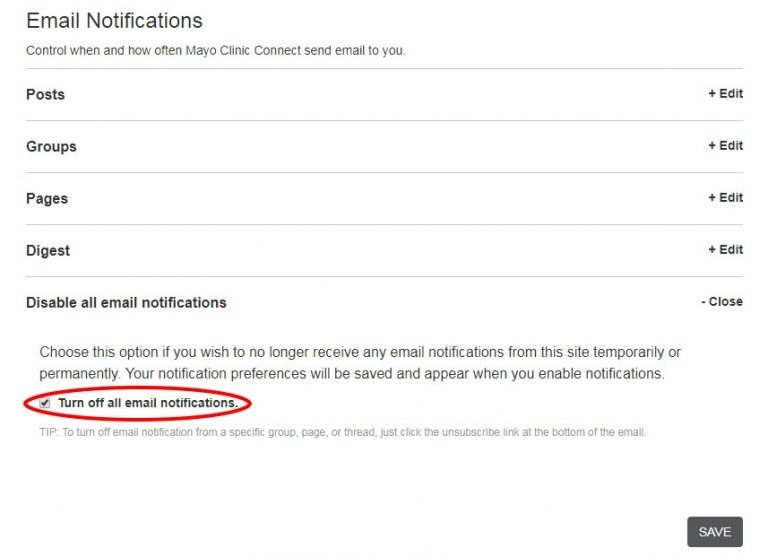 Turn Off All Email Notifications