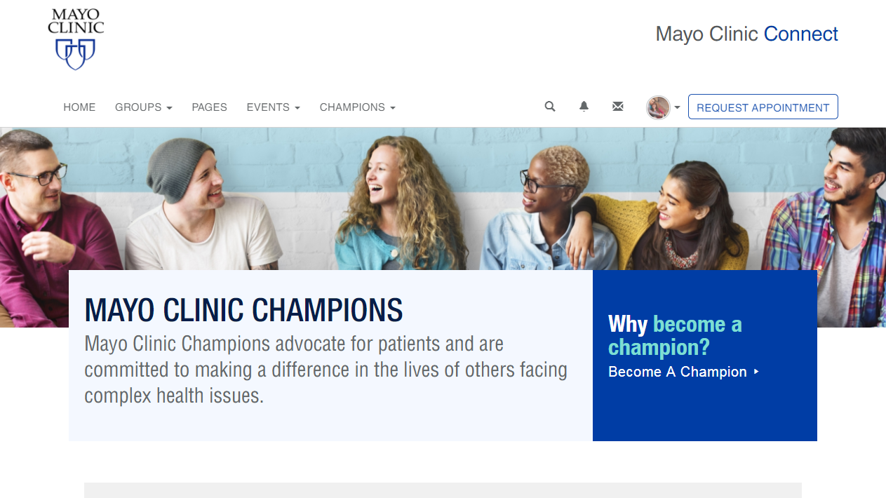 New Mayo Clinic Champions Home Page