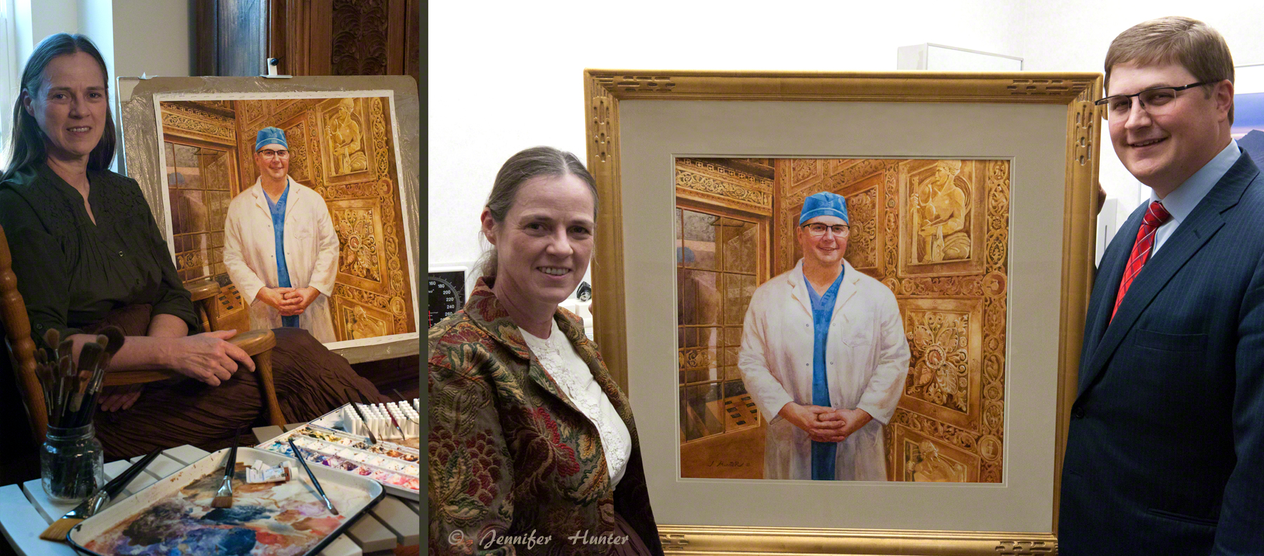 Jennifer Hunter and Dr Fogelson Portrait watercolor