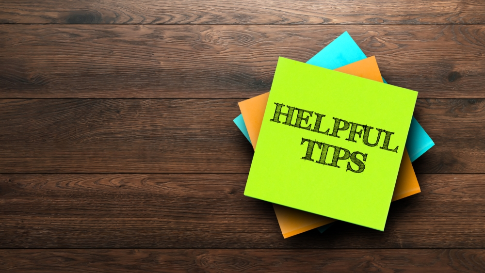 Helpful Tips written on a sticky note