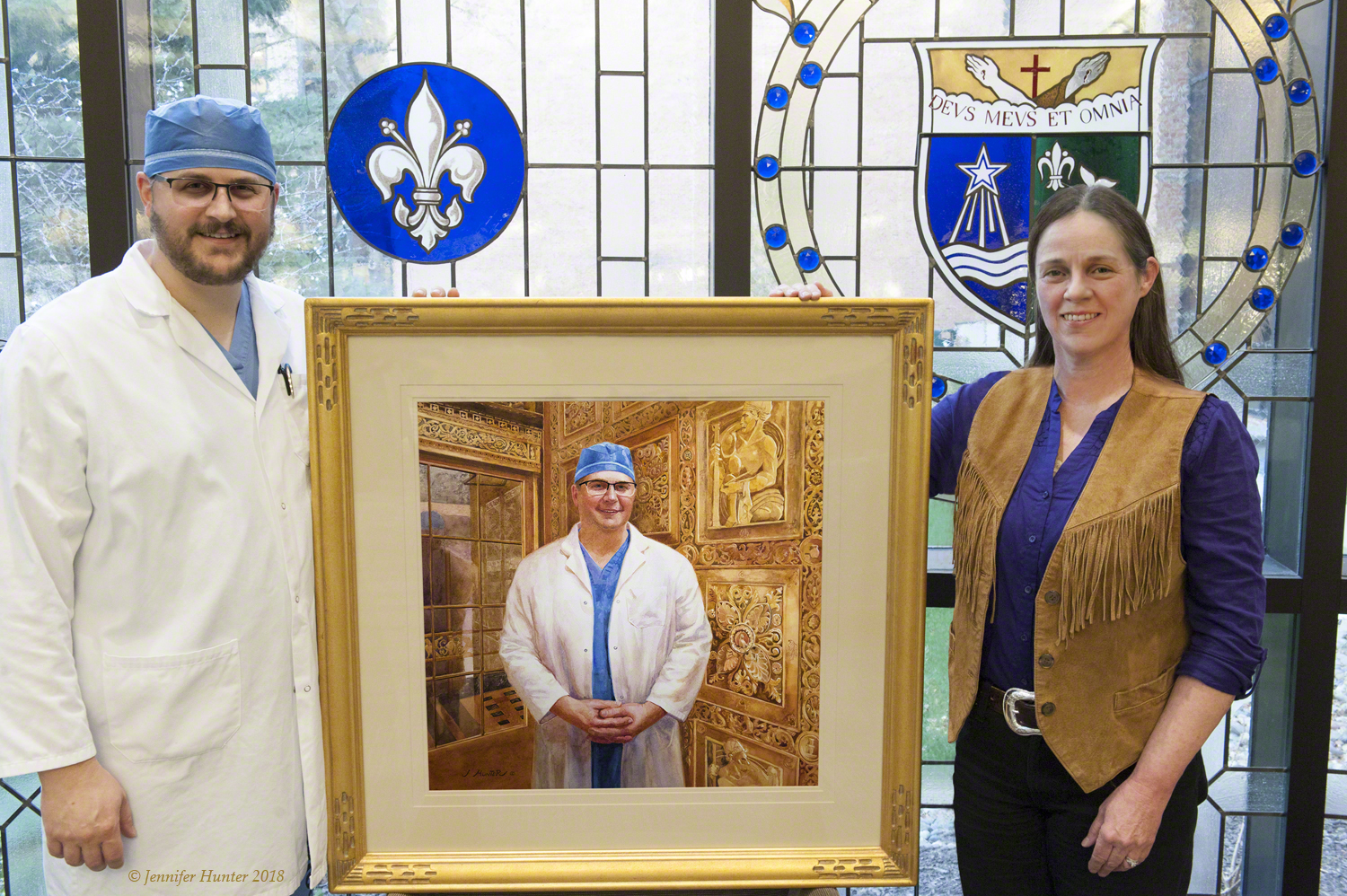 Jennifer Hunter and Dr Fogelson at St Marys with portrait 3