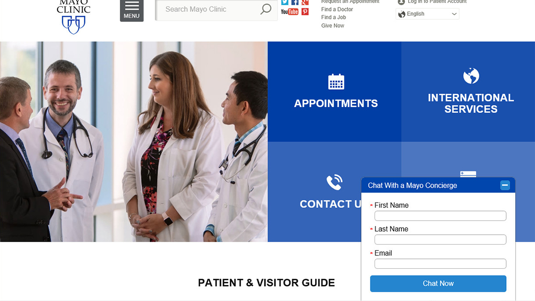 Displaying the Webchat on the Patient and Visitor Guide website