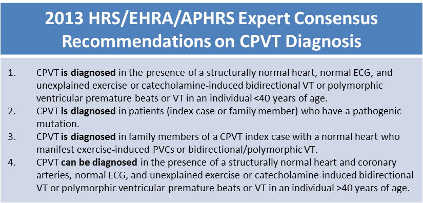 2013 CPVT Diagnosis Recommendations