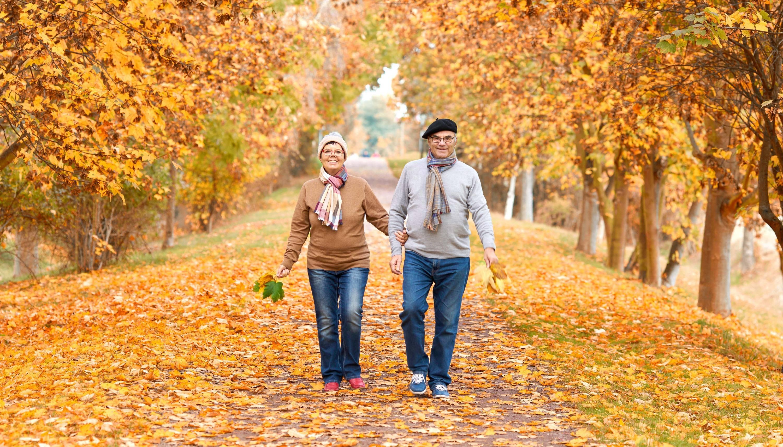 fall couple walking