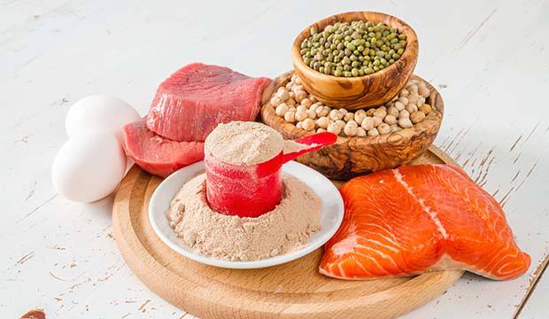 Eggs, fish, beans and protein powder