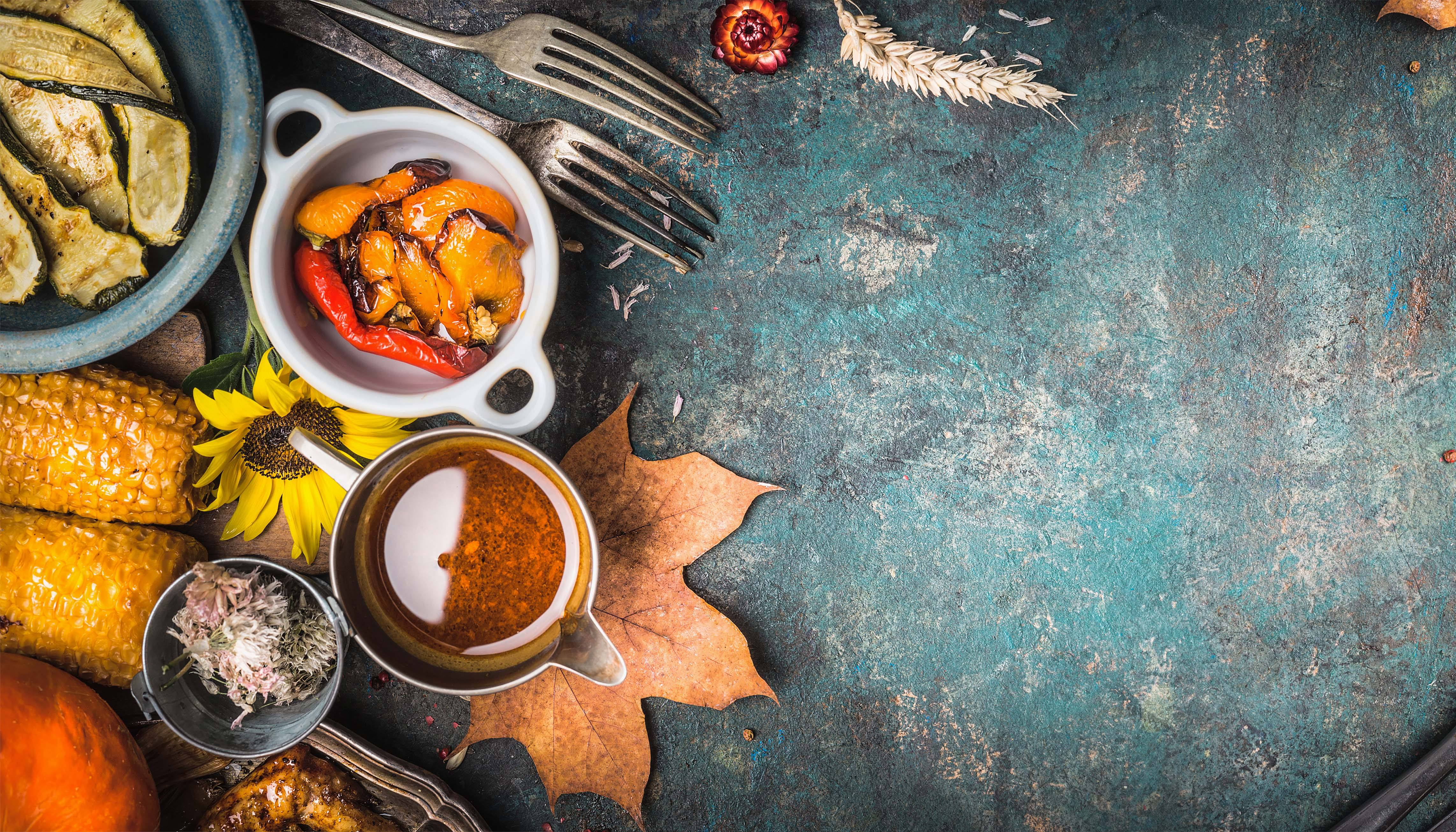 Table with fall leaves and foods