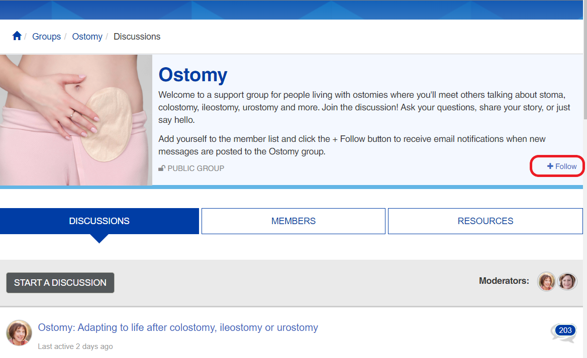 Ostomy group follow