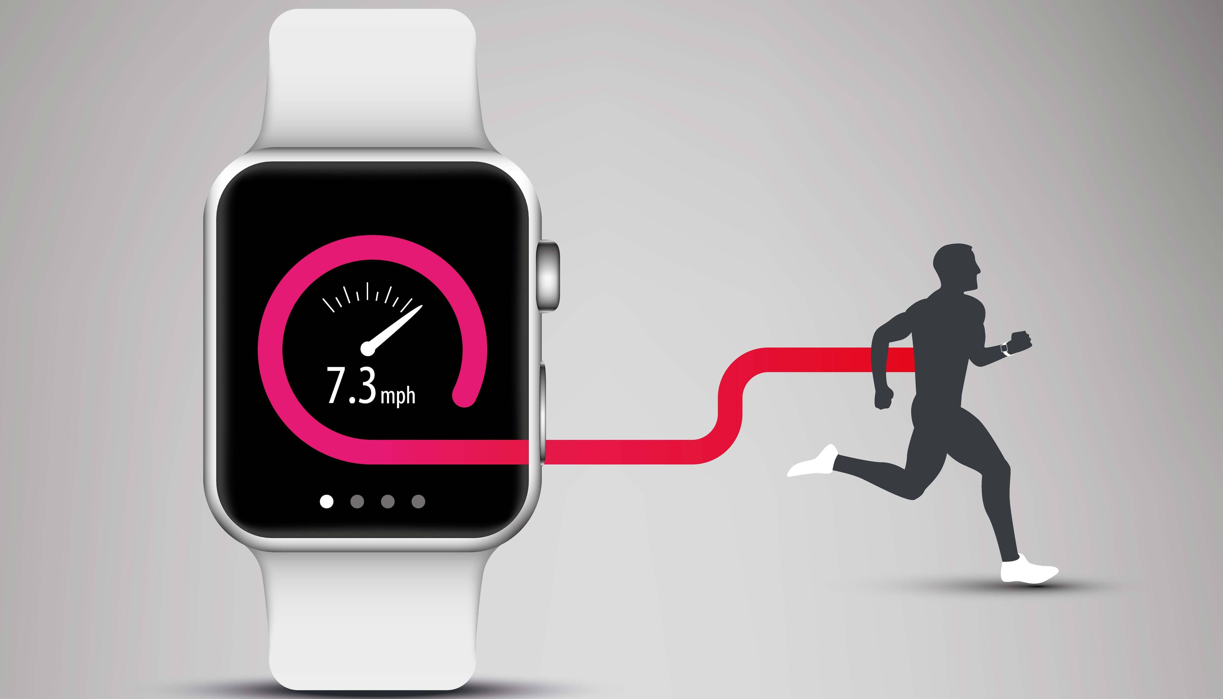 Smart watch with man running