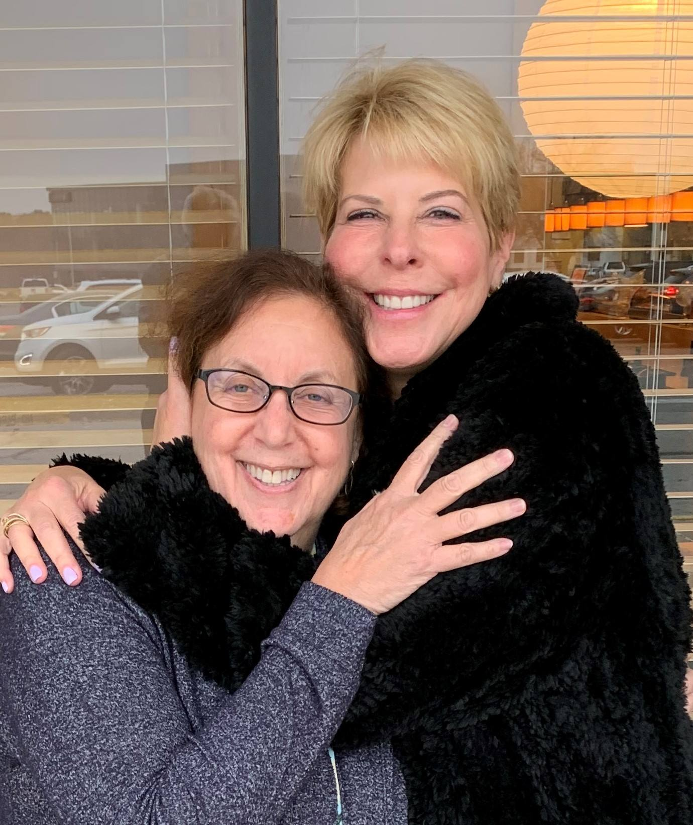 Deb and Martha - hug, Sushi House, Town Center, 11-26-19