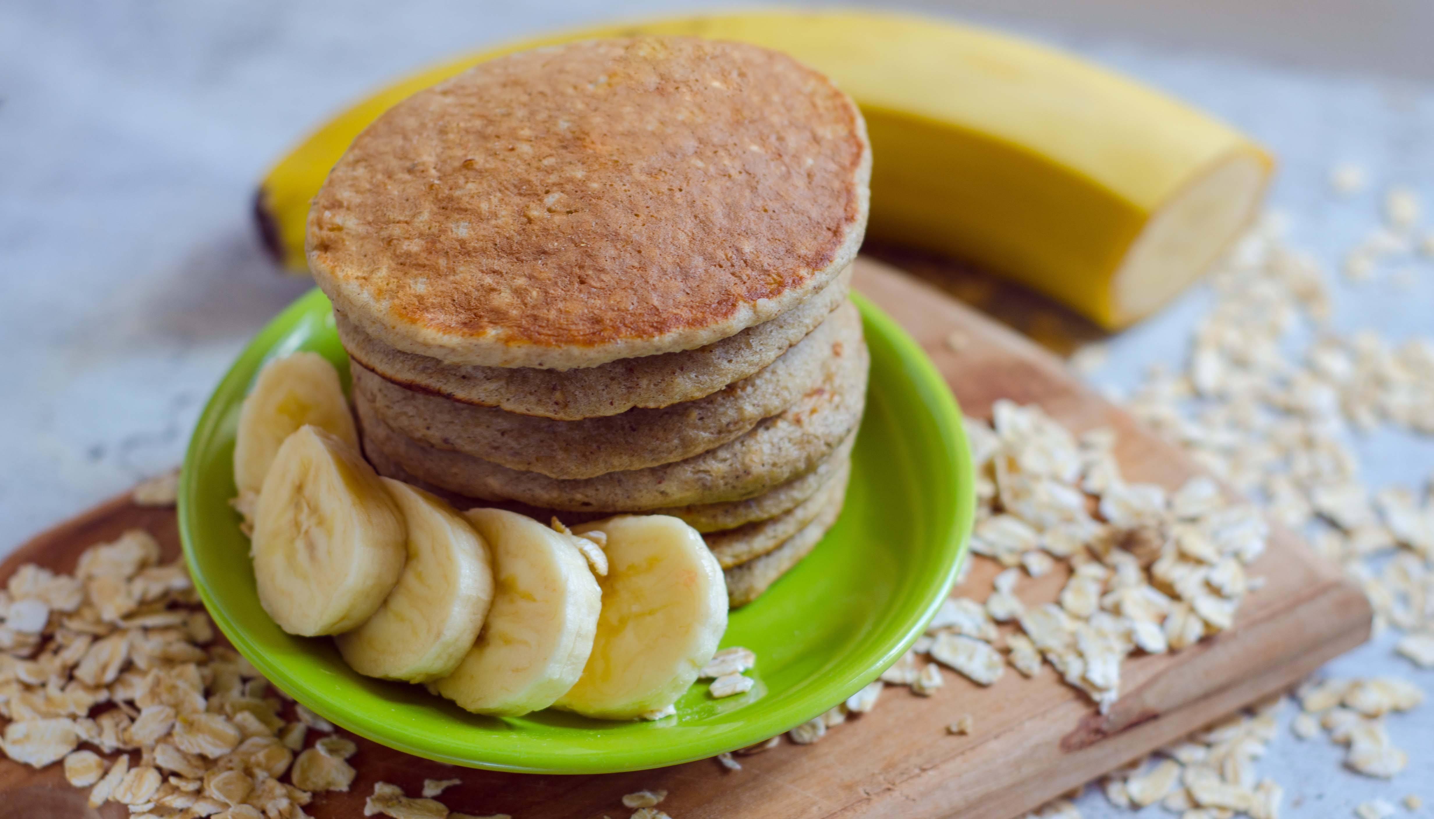 Banana pancake stack and banana slices