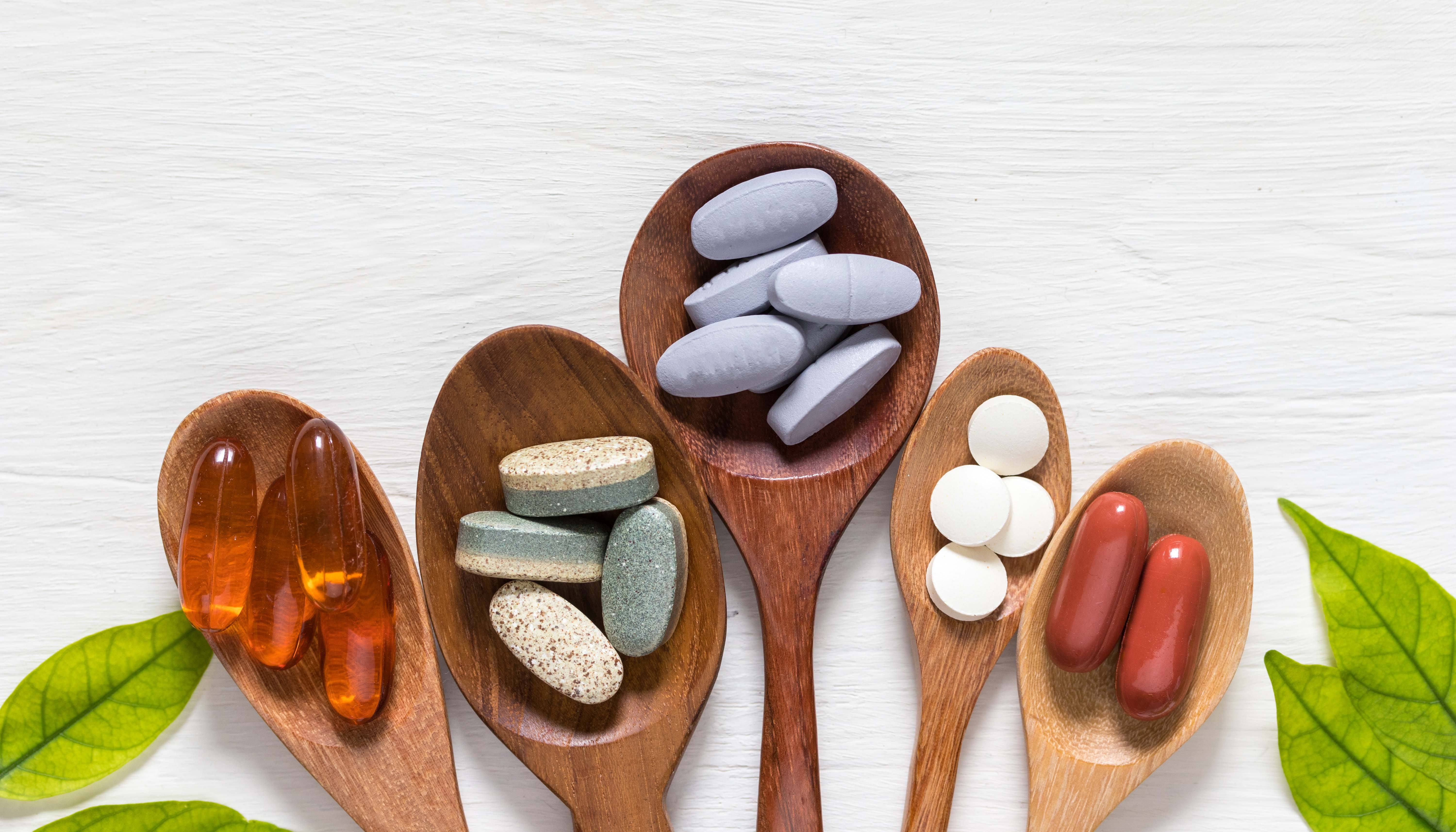 Wooden spoons with medications