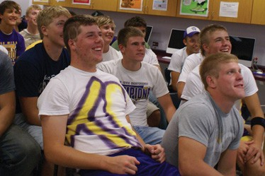 Tyler's teammates gathered at the school for the videoconference, which seemed to give them just as much joy as it did Tyler.