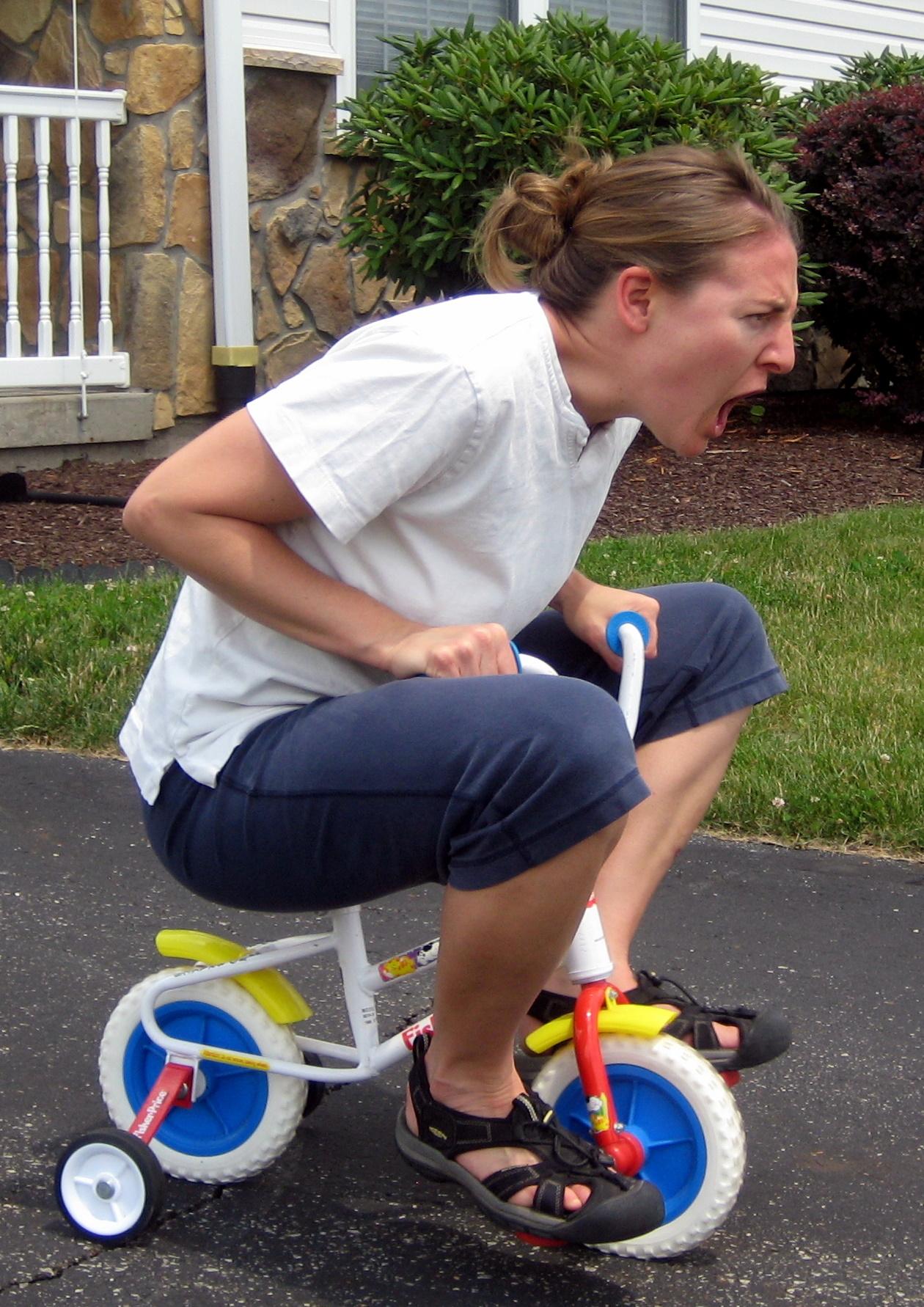 Jill Camirand riding a bike.