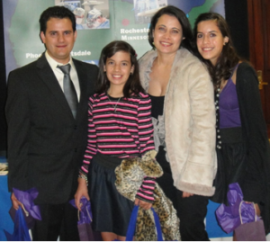 "The family attending ""A Night with Mayo Clinic"" for the opening of Mayo's information office in Quito, Ecuador, in January 2011"