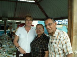 Nurse Kate Welp with Daniela's grandparents Edna & Santiago at Alcatraz restaurant in Manta-Ecuador