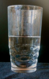 Picture of a glass half full or half empty