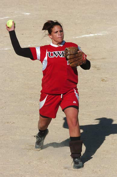 Brittany Rathbun playing softball