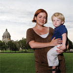 Monica Hansen and her son.