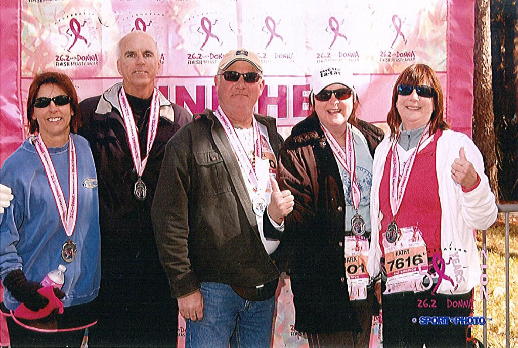 After 2012 half-marathon (from left to right) Carol Roberts (neighbor), Tom Donovan (brother), Mike Swanick (brother-in-law), Barbra Donavon-Swanick (sister), Kathy Kennelly
