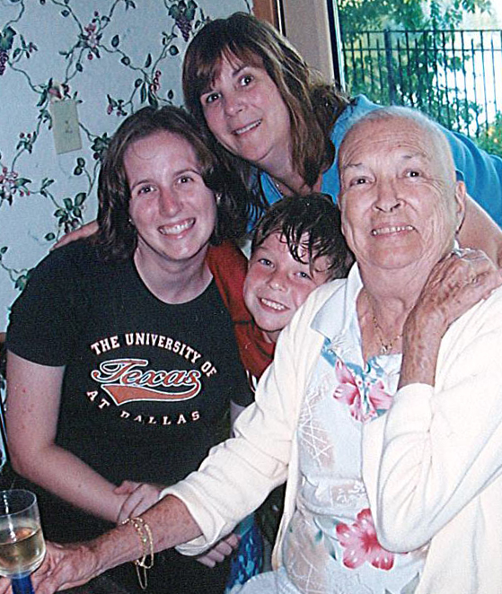 After chemotherapy and radiation (from left to right) Erin Holman (neice), Kathy Kennely, Bradley Kennelly (son), Gladys Donovan