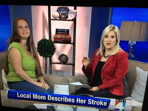 Jessica shared her story on a local news show in Jacksonville to spread the word about stroke.