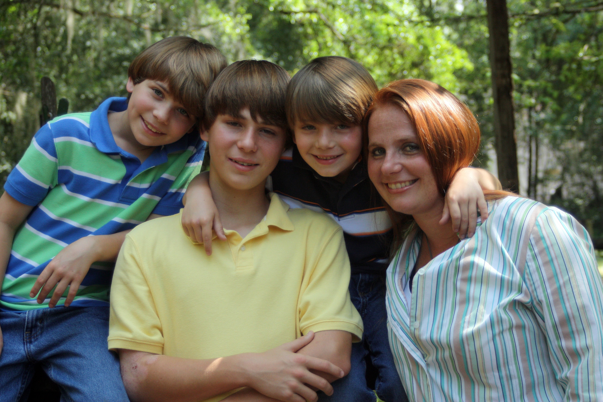 Jessica Cook and her sons (from left) Jonah, Josh and Jacob.