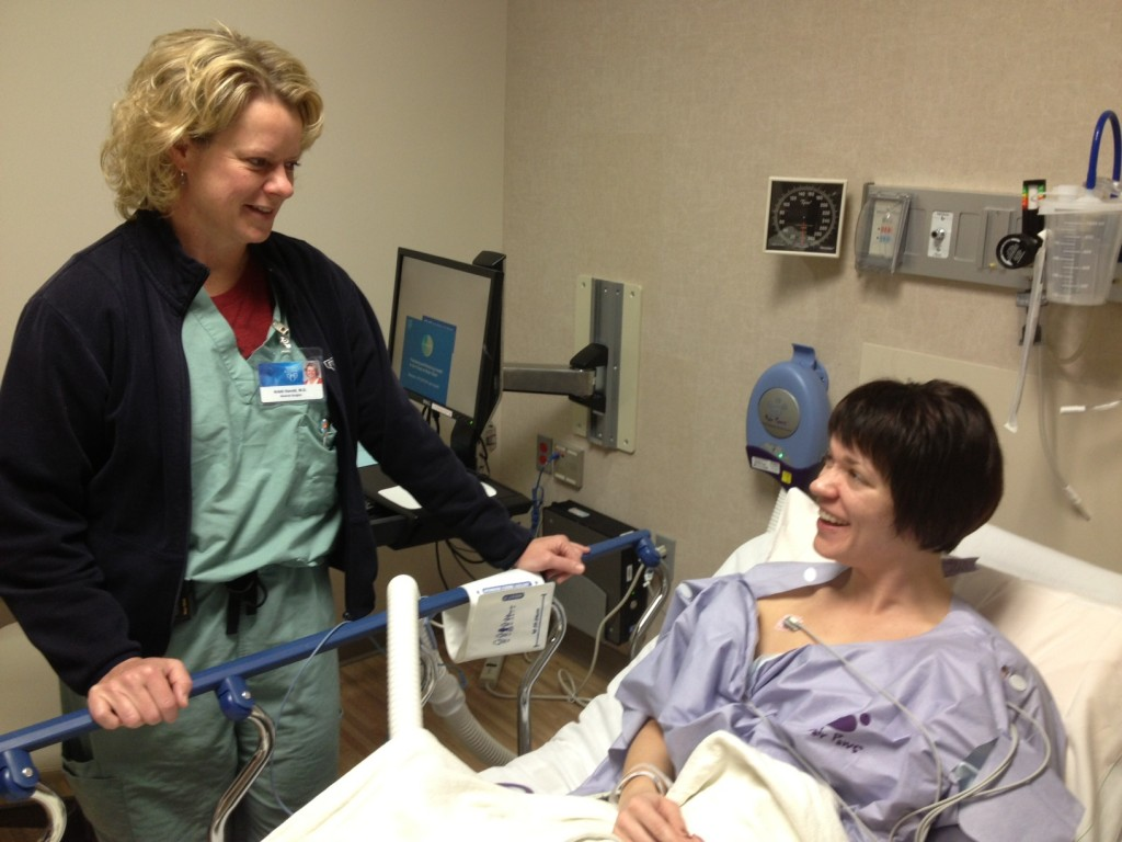 Dr. Kristi Harold speaks with patient, Shawnee Williams, before her LINX surgery at Mayo Clinic in Arizona.