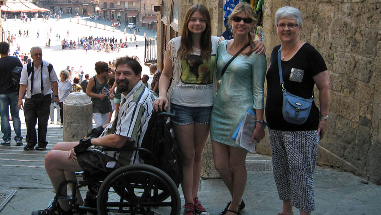 Amy Supergan with family members in Sienna, Italy.