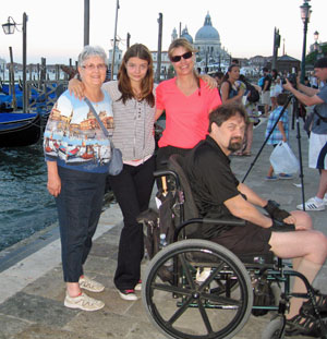 Amy and her family traveling in Venice, Italy.