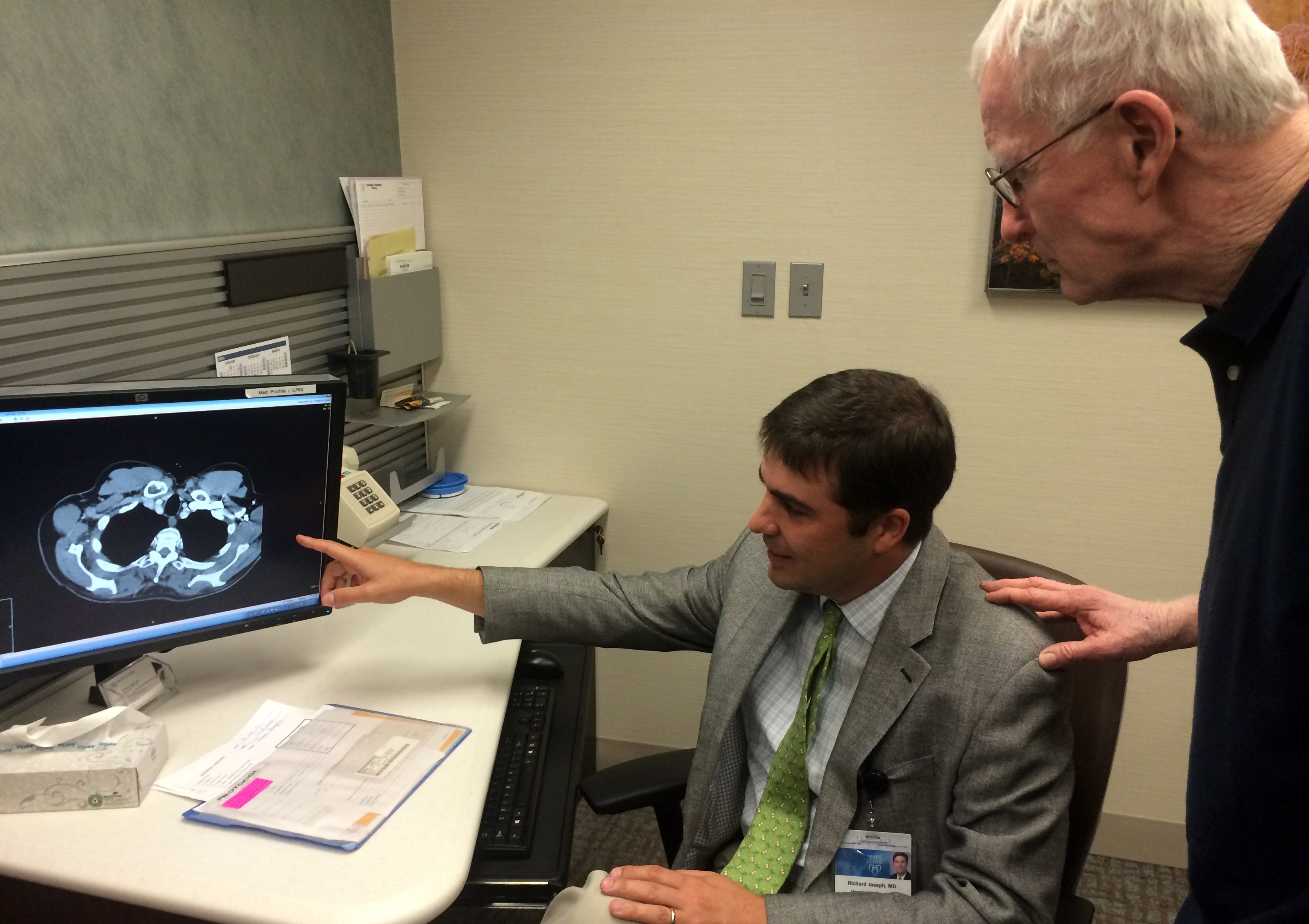 Mayo Clinic in Florida oncologist Richard Joseph, M.D. with Mayo Clinic patient James Donaghy.