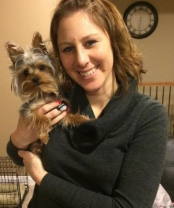 Carly Edgar poses with her dog, Merc, after her time at Mayo Clinic.
